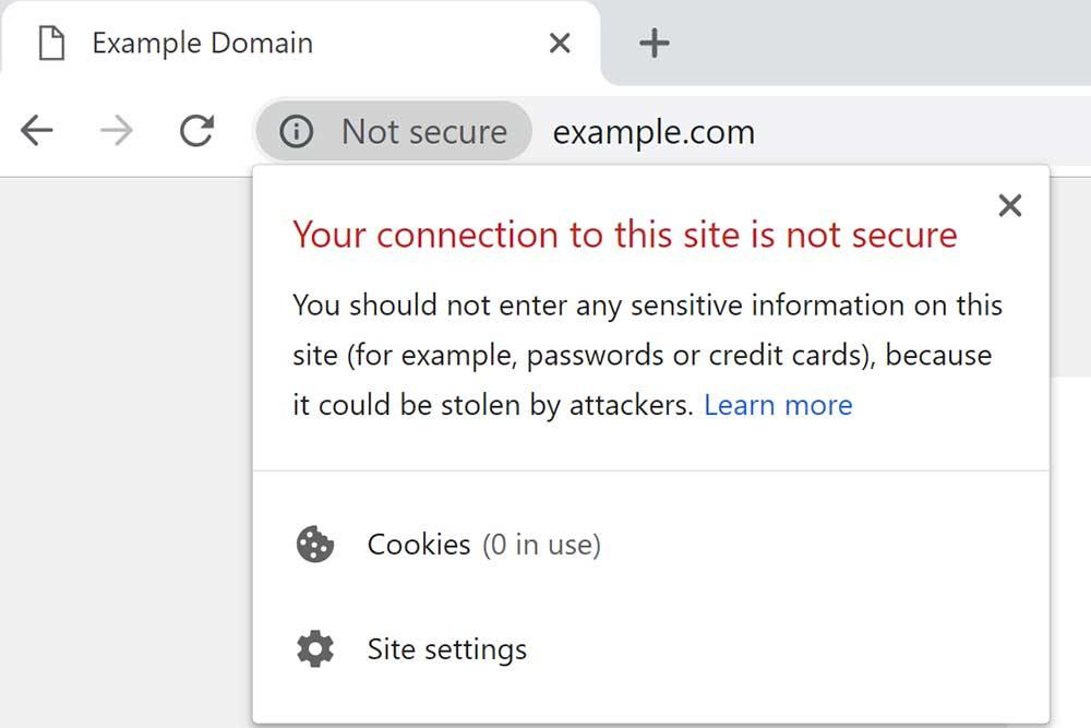 Google Chrome'Not Secure' message