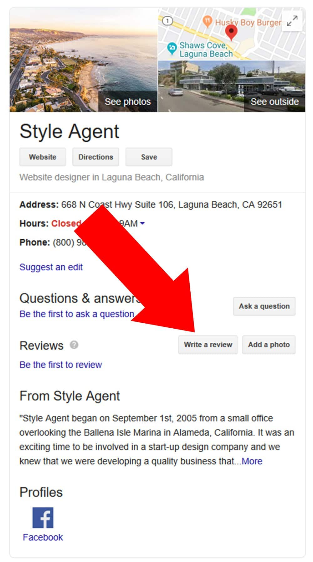 Leave a review for Style Agent on Google
